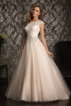Classic Modest White $$ - $701 to $1500 Allure Bridals Ball Gown Ballroom Beading Cap Sleeve Floor Historic Site House of Worship Lace Natural Scoop Wedding Dresses Photos & Pictures - WeddingWire.com