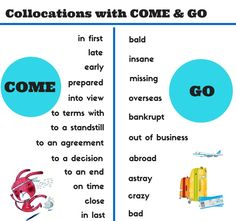 Collocatioas with come and go