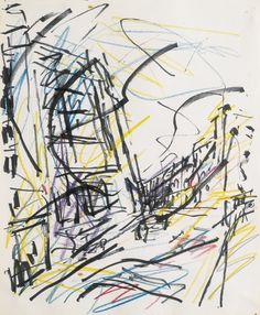 Frank Auerbach - Sotheby's - like the use of colour and simple lines Landscape Drawings, Abstract Drawings, Cool Drawings, Amazing Drawings, Abstract Art, Line Drawing, Painting & Drawing, Frank Auerbach, Automatic Drawing