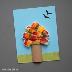 Four season tree craft with cotton balls - NON-TOY GIFTS
