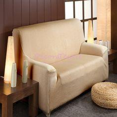 Funda Elástica Sofá Beige, modelo TUNEZ, adaptable a cualquier sofá, renueva y protege la tapicería del sofá, máxima calidad, tejido muy resistente, lavable ...