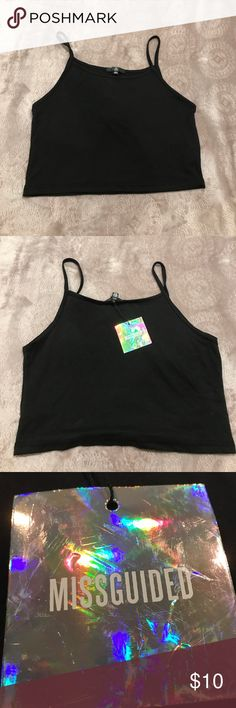 Misguided black crop top Misguided black crop top never worn, tags are still on it! Missguided Tops Crop Tops