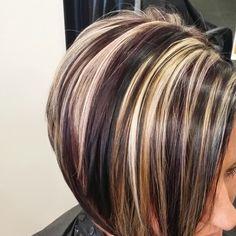 Hair artist : Tabitha Metzler - All For Hair Cutes Short Brown Hair, Short Hair Cuts, Short Hair Styles, Blonde Highlights On Dark Hair, Chunky Highlights, Caramel Highlights, Red Highlights, Hair Color And Cut, Cool Hair Color