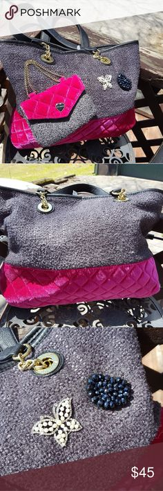 Betsey Johnson Quilted Purse Practically new. Perfect condition only used a couple of times and has been stored in a box in my closet :) Dark grey and a Burgandy pink  bottom. Betsey Johnson Bags Shoulder Bags