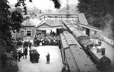 The funeral of Charles Rolls (of Rolls Royce) at Monmouth Troy Station in 1910 (Rolls met his end in July 1910 when his French-built Wright biplane broke up in mid-air. Although he was only 20 ft up in the air, he broke his skull in the fall and became Britain's first aircraft fatality.) Copyright photo from John Alsop collection Old Train Station, Disused Stations, Back In Time, Rolls Royce, Troy, Looking Back, Wales, Abandoned, Britain