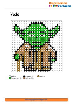 Star Wars Yoda Bügelperlen Vorlage - perler bead pattern