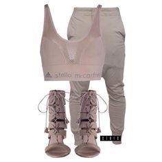 Rick Owens pants ($715), Adidas by Stella McCartney bra top ($93), and Zimmerman heels ($610) xx