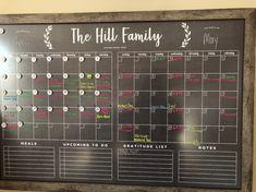 Command center LARGE chalkboard calendar - dry erase calendar - framed calendar - 2 months 24102 DIY Blackboard Calendar - Sincerely, Sara D. Calendar Board, Diy Calendar, Family Calendar Wall, Chalk Wall, Chalk Ink, Chalk Board, Chalkboard Wall Calendars, Large Chalkboard, Family Command Center