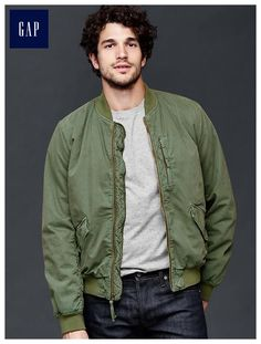 This is that green bomber look that came back in a huge way about two years ago, I love this because it's canvas rather than leather or something with too much sheen, ya dig?