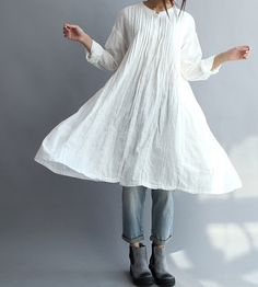 Women Cotton Long Shirt white gown par MaLieb sur Etsy