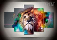 Colorized Lion v2 5 Pc Canvas Painting. #walldecor #print #printable #art #teepeat #empireprint