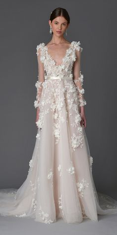 The Prettiest Spring 2017 Wedding Dresses from Bridal Fashion Week - Marchesa  - from InStyle.com