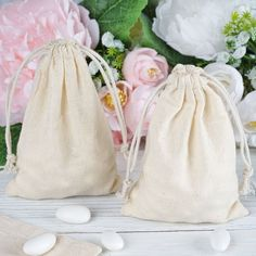 "10 Pack | 4""x6"" Natural Classic Cotton Favor Bags Party Drawstring Pouches Wedding Favours To Make, Champagne Wedding Favors, Wedding Reception Favors, Elegant Wedding Favors, Wedding Favor Bags, Unique Wedding Favors, Party Favor Bags, Gifts For Wedding Party, Favor Boxes"