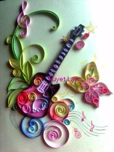 Quilling - Musical Notes/Instrumental Ideas/Musical Scores/Etc. on Pi… Arte Quilling, Paper Quilling Patterns, Origami And Quilling, Quilled Paper Art, Quilling Paper Craft, Diy Paper, Paper Crafts, Diy And Crafts, Arts And Crafts