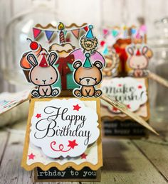 There's 2 ladies having the same birthday so I was asked to make another cupcake carnival box-in-a-card. Kids Cards, Baby Cards, Carnival Cupcakes, Elephant Cupcakes, Mama Elephant Stamps, Pop Up Box Cards, Interactive Cards, Card Making Inspiration, Card Maker