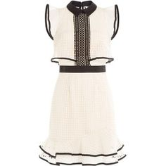 Self-Portrait Contrast Flounced Mini Dress