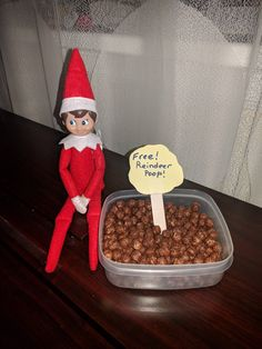 Elf on the shelf Kindness Elves, Elf On Shelf, Elf On The Shelf Ideas For Toddlers, Cocoa Puffs, Christmas Elf, Chocolate Chips, Elf Games, Snowball, Holiday Fun