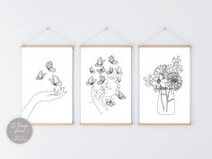 Butterfly Line Art, Flower Line Art, Butterfly Wall Art, Face Line Art, Butterfly Drawing, Print Set of 3, Female Line Art Black and White