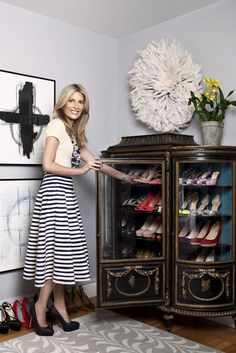 12 Life Changing Ways to Organize Shoes and Accessories -- China cabinet display in the bedroom