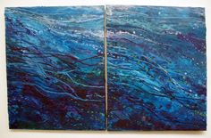 Melted Sea - Made from melted wax crayons, across 2 canvases by becksjb
