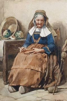Artwork by Walter Langley, 'An Old Breton Woman', Made of watercolour