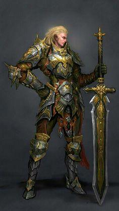 Paladin of the Lion Fantasy Male, Fantasy Armor, High Fantasy, Medieval Fantasy, Paladino, Illustration Fantasy, Dnd Characters, Fantasy Characters, Angel Warrior