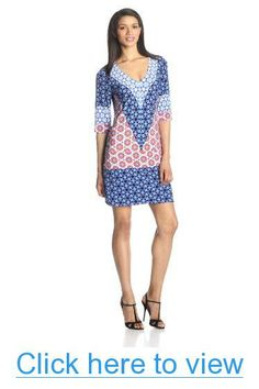 Donna Morgan Women's Jersey Half-Sleeve V-Neck Shift Dress