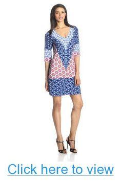 Donna Morgan Women's Jersey Half-Sleeve V-Neck Shift Dress #Donna #Morgan #Womens #Jersey #Half_Sleeve #V_Neck #Shift #Dress