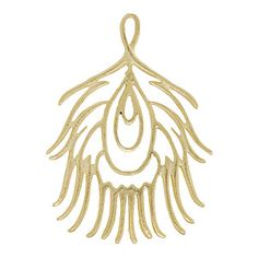 37.5x27mm Gold Plated Peacock Feather Charm | Fusion Beads