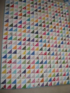 Half Square Triangle Quilt, by SquaresAndTriangles.com - I love the simplicity and variety!