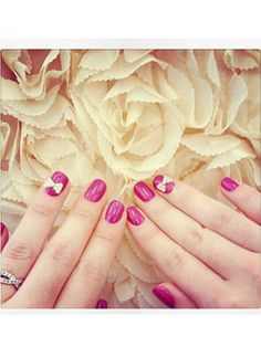 Nail Design Pictures - Creative Celebrity Nail Polish Designs - Seventeen. I like the bows and the color pink