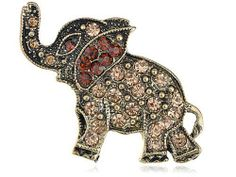 Antique-Inspired Bronze Brass Tone Topaz Crystal Rhinestone Elephant Pin Brooch Alilang. $9.99