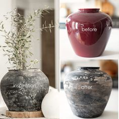 How to give any vase an antique pottery finish. Home Crafts, Diy Home Decor, Diy And Crafts, Diy Crafts Vases, Diy Painted Vases, Painted Lamp, Old Vases, Antique Vases, Antique Pottery