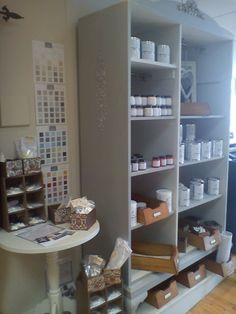 Old wardrobe converted be me into shop display for Autentico paint, exterior in 'After Rain'  interior in 'Chalk Grey'