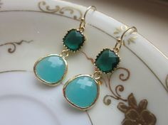 Emerald Green Earrings Aqua Blue Two Tier  Bridesmaid by laalee, $32.00