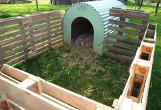 Piggy House Ideas- appropriate pig shelter ideas, examples of pig houses, hog house, pig outside shelters. - Mini Pig Info