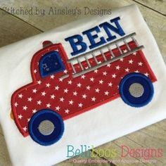 Fire Truck Applique by www.belliboos.com.  Free July 2016 Gold Design at www.theappliquecircle.com