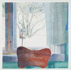 Winter Window - Marjatta Hanhijoki Watercolour, x cm. Watercolour, Window, Painting, Art, Kunst, Pen And Wash, Art Background, Watercolor Painting, Watercolor