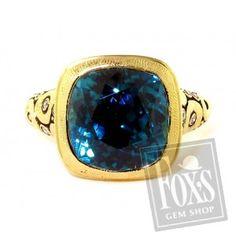 "Alex Sepkus ""Orchard"" ring set with blue zircon and diamonds"