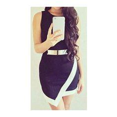 Metal Embellished Black Zipper Closure Dress ($19) ❤ liked on Polyvore featuring dresses, black, mini dress, sleeveless sheath dress, black day dress, black sheath dress and round neck sleeveless dress