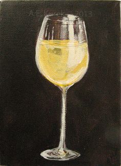 White Wine Glass - Original 5 x 7 Acrylic Painting on Canvas