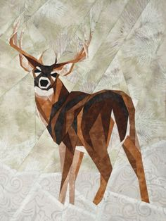 silver linings quilting pattern whitetail buck I wonder if I couldn't make it like a starry night with blue and detailing Paper Pieced Quilt Patterns, Quilt Block Patterns, Quilt Blocks, Silver Linings, Wildlife Quilts, Quilt Modernen, Patch Aplique, Animal Quilts, Foundation Paper Piecing