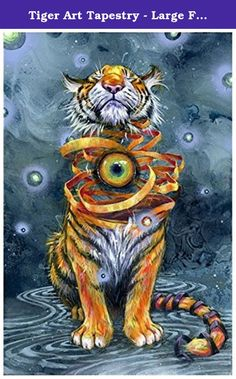 """Tiger Art Tapestry - Large Format Art Tapestry - """"Eyes Wide Shut"""" by Black Ink Art. 56"""" x 90"""" Tapestry. Printed with a dye sublimation process that produces vibrant colors. Printed on a custom polyester blend material for a smooth, durable tapestry."""
