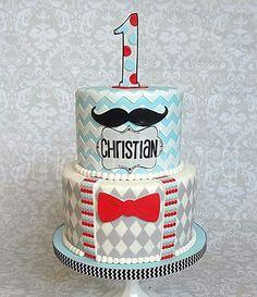 Chevron mustache baby cake by smash cakery