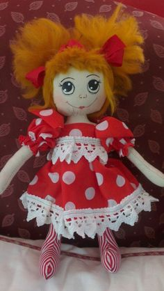 Handmade Cloth Rag Doll, Rosie, 35cm, OOAK, Collectable, by Bianca