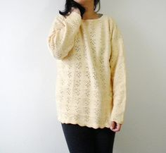 Vintage Oversized Crochet Sweater Size Small to by OiseauVintage, $24.00
