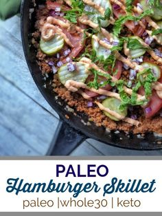 This paleo hamburger skillet tastes like your favorite fast food burger with a healthy twist featuring homemade Thousand Island Dressing. A perfect meal for those that are paleo, keto or on a round of Paleo Pizza, Paleo Whole 30, Whole 30 Recipes, Thousand Islands, Paleo Recipes, Real Food Recipes, Fast Recipes, Paleo Meals, Salads