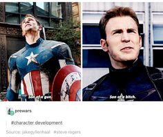Funny, but why is it character development? Does stronger language signal some kind of transition to a different mindset? Does it make him a big kid now, now that he's cussing like the grownups? I need more explanation as to how that could be considered development of Steve Rogers' character.