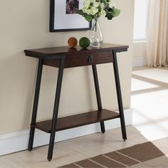 Contemporary Hall Console Table with Extending Drawer and Lower Storage Shelf with Bronzed Legs and Brown Walnut Finish - 18687680 - Overstock.com Shopping - Great Deals on Coffee, Sofa & End Tables