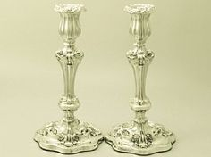A fine and impressive pair of antique William IV English sterling silver candlesticks in the Regency style; part of our antique silver candlestick and candelabra collection Silver Candelabra, Silver Candlesticks, Silver Trays, Silver Spoons, Candle Sticks, Regency, Pewter, Antique Silver, Candle Holders